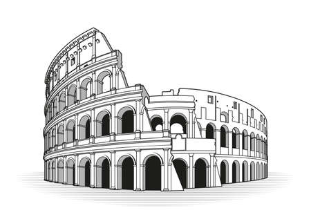 Rome coliseum hand drawn outline doodle icon Çizim