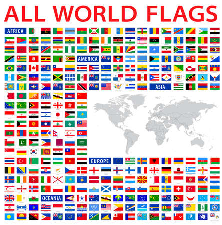 all country flags of the world Stock Illustratie