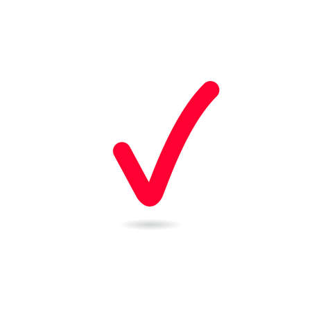 Red tick. Red check mark. Tick symbol, icon, sign in Red color