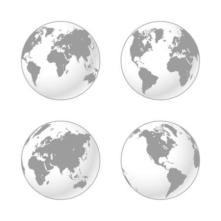 Set of Grey and White shaded globes of Earth. High Detail Realistic world map mapped on globe shapes in four positions, America, Europe-Africa, Asia and Atlantic centered