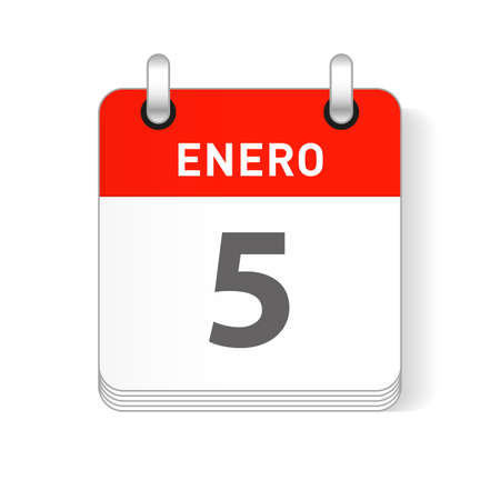 Enero 5, January 5 date visible on a page a day organizer calendar in spanish Language Ilustração