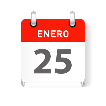 Enero 25, January 25 date visible on a page a day organizer calendar in spanish Language