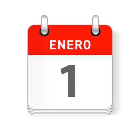 Enero 1, January 1 date visible on a page a day organizer calendar in spanish Language