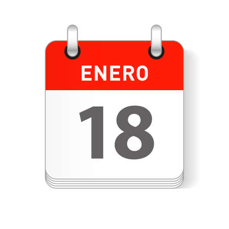 Enero 18, January 18 date visible on a page a day organizer calendar in spanish Language