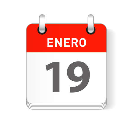 Enero 19, January 19 date visible on a page a day organizer calendar in spanish Language  イラスト・ベクター素材