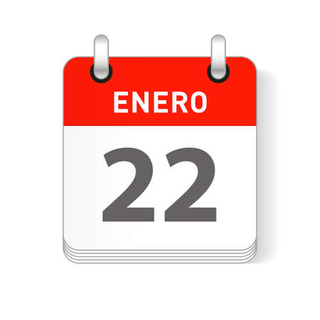 Enero 22, January 22 date visible on a page a day organizer calendar in spanish Language  イラスト・ベクター素材