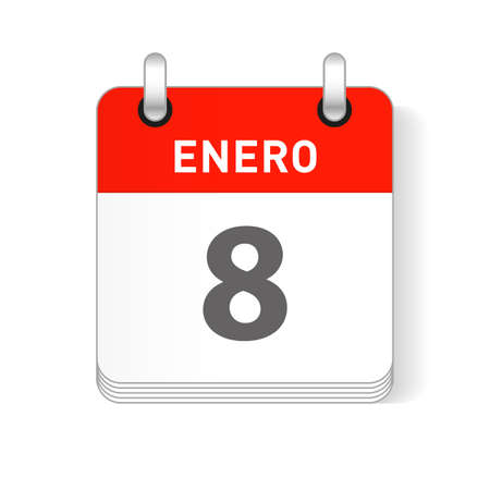 Enero 8, January 8 date visible on a page a day organizer calendar in spanish Language