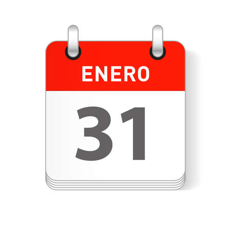 Enero 31, January 31 date visible on a page a day organizer calendar in spanish Language Ilustração