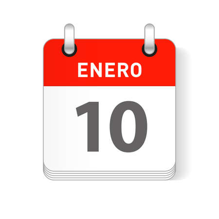 Enero 10, January 10 date visible on a page a day organizer calendar in spanish Language  イラスト・ベクター素材