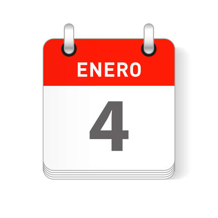 Enero 4, January 4 date visible on a page a day organizer calendar in spanish Language