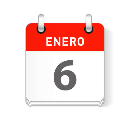 Enero 6, January 6 date visible on a page a day organizer calendar in spanish Language