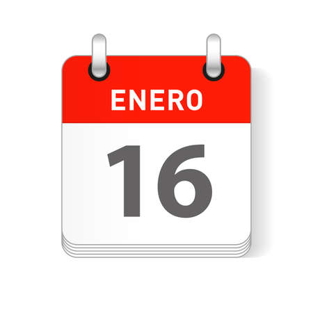 Enero 16, January 16 date visible on a page a day organizer calendar in spanish Language  イラスト・ベクター素材