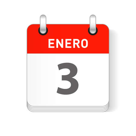 Enero 3, January 3 date visible on a page a day organizer calendar in spanish Language Ilustração