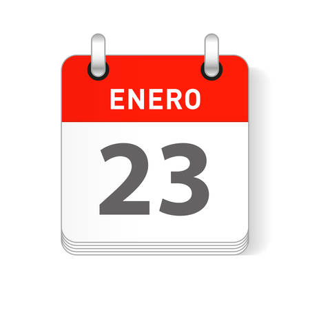 Enero 23, January 23 date visible on a page a day organizer calendar in spanish Language
