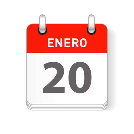 Enero 20, January 20 date visible on a page a day organizer calendar in spanish Language  イラスト・ベクター素材
