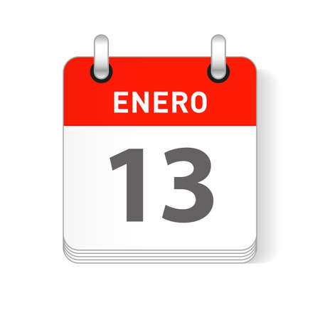 Enero 13, January 13 date visible on a page a day organizer calendar in spanish Language