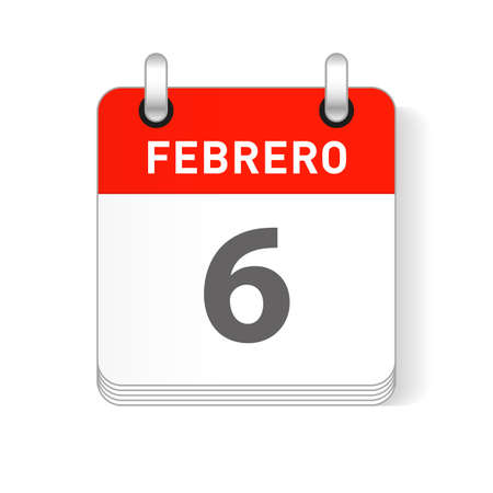 Febrero 6, February 6 date visible on a page a day organizer calendar in spanish Language