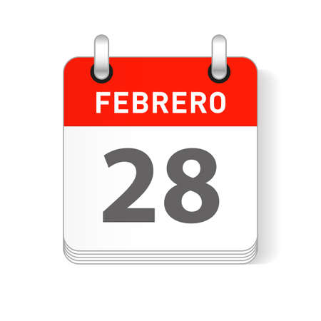Febrero 28, February 28 date visible on a page a day organizer calendar in spanish Language  イラスト・ベクター素材