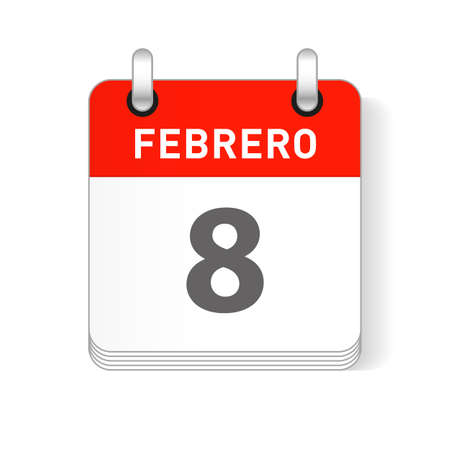 Febrero 8, February 8 date visible on a page a day organizer calendar in spanish Language