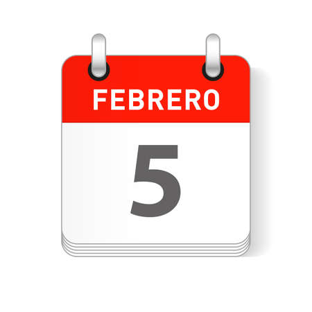 Febrero 5, February 5 date visible on a page a day organizer calendar in spanish Language Ilustração