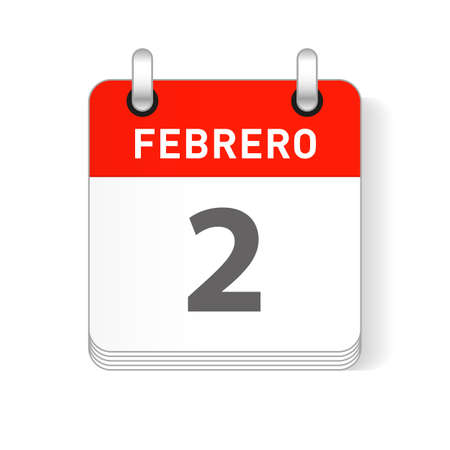 Febrero 2, February 2 date visible on a page a day organizer calendar in spanish Language