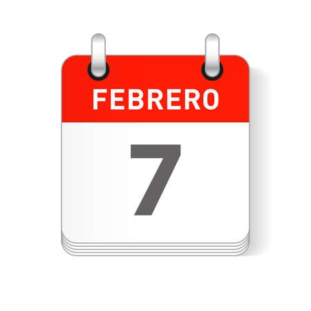 Febrero 7, February 7 date visible on a page a day organizer calendar in spanish Language  イラスト・ベクター素材