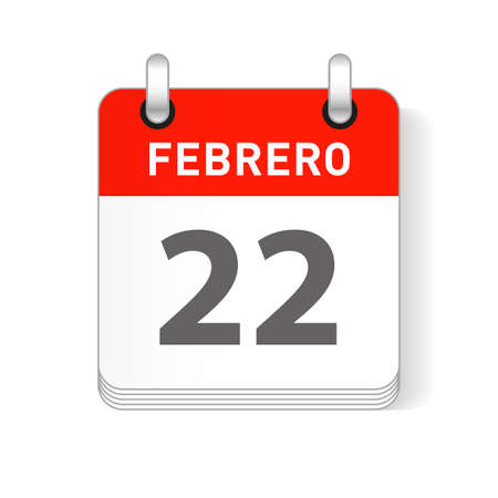 Febrero 22, February 22 date visible on a page a day organizer calendar in spanish Language