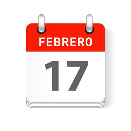 Febrero 17, February 17 date visible on a page a day organizer calendar in spanish Language  イラスト・ベクター素材
