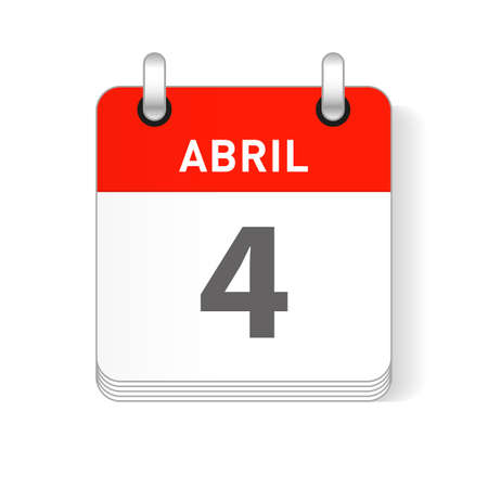 Abril 4, April 4 date visible on a page a day organizer calendar in spanish Language