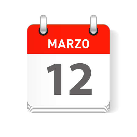 Marzo 12, March 12 date visible on a page a day organizer calendar in spanish Language