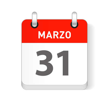 Marzo 31, March 31 date visible on a page a day organizer calendar in spanish Language