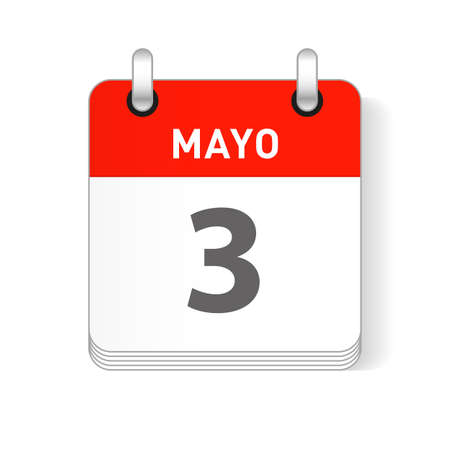 Mayo 3, May 3 date visible on a page a day organizer calendar in spanish Language Ilustração