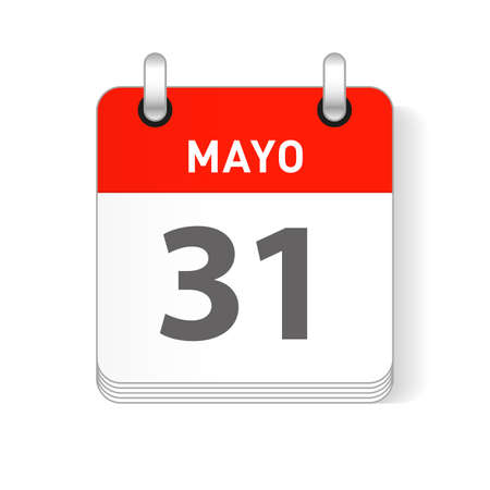 Mayo 31, May 31 date visible on a page a day organizer calendar in spanish Language Ilustração
