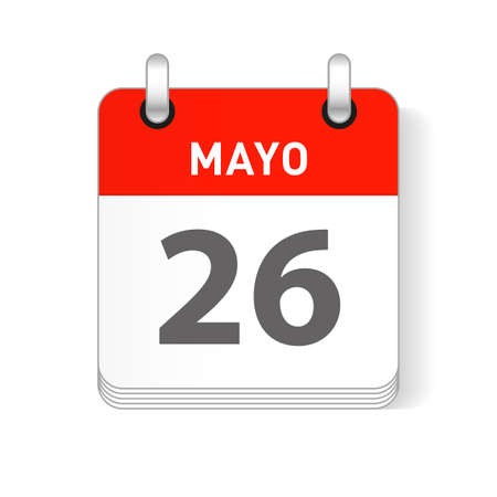 Mayo 26, May 26 date visible on a page a day organizer calendar in spanish Language 写真素材 - 118908235