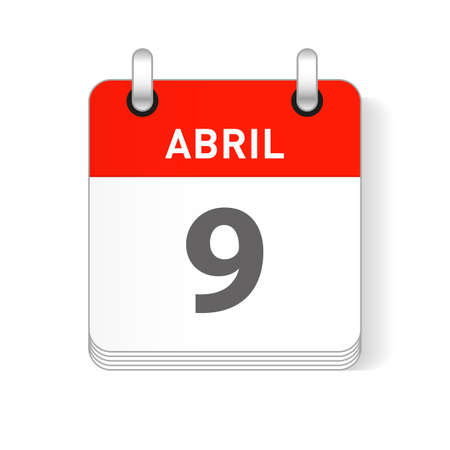 Abril 9, April 9 date visible on a page a day organizer calendar in spanish Language