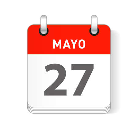 Mayo 27, May 27 date visible on a page a day organizer calendar in spanish Language