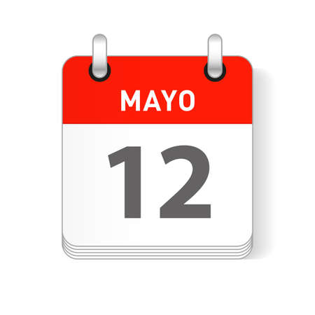 Mayo 12, May 12 date visible on a page a day organizer calendar in spanish Language  イラスト・ベクター素材