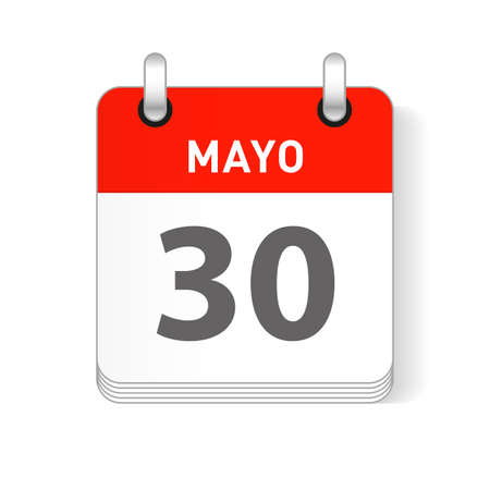 Mayo 30, May 30 date visible on a page a day organizer calendar in spanish Language Illustration