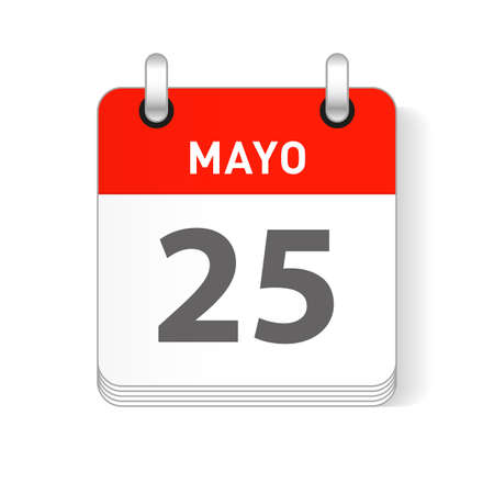 Mayo 25, May 25 date visible on a page a day organizer calendar in spanish Language