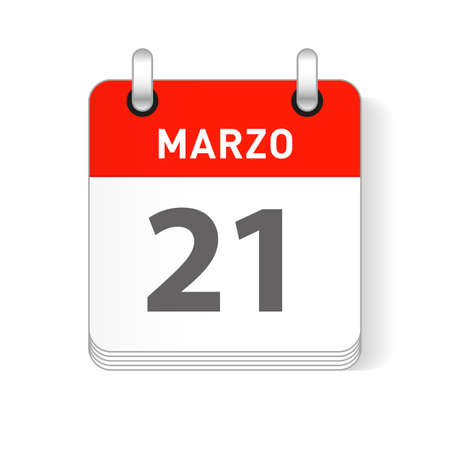 Marzo 21, March 21 date visible on a page a day organizer calendar in spanish Language