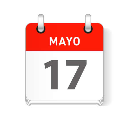 Mayo 17, May 17 date visible on a page a day organizer calendar in spanish Language  イラスト・ベクター素材
