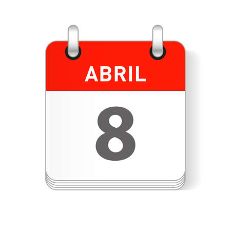 Abril 8, April 8 date visible on a page a day organizer calendar in spanish Language