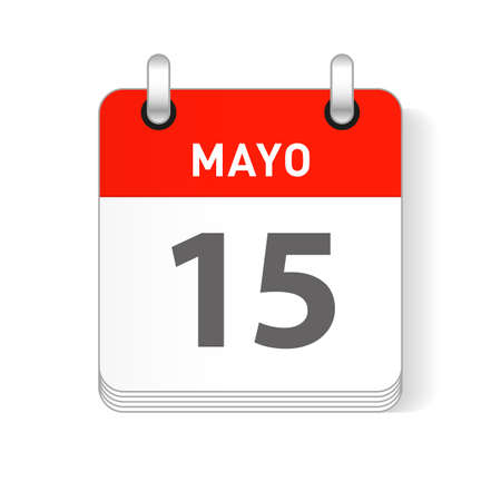 Mayo 15, May 15 date visible on a page a day organizer calendar in spanish Language