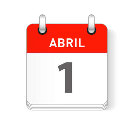 Abril 1, April 1 date visible on a page a day organizer calendar in spanish Language Иллюстрация
