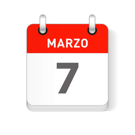 Marzo 7, March 7 date visible on a page a day organizer calendar in spanish Language