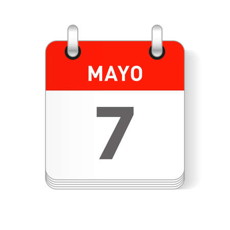 Mayo 7, May 7 date visible on a page a day organizer calendar in spanish Language