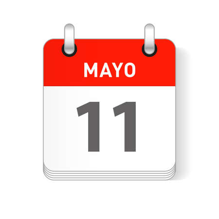 Mayo 11, May 11 date visible on a page a day organizer calendar in spanish Language
