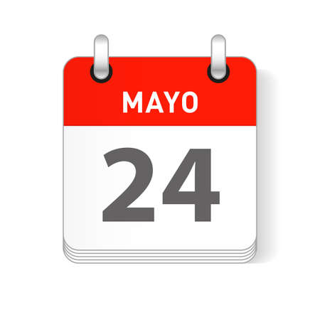 Mayo 24, May 24 date visible on a page a day organizer calendar in spanish Language