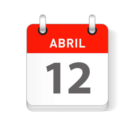 Abril 12, April 12 date visible on a page a day organizer calendar in spanish Language  イラスト・ベクター素材