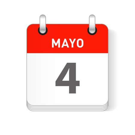 Mayo 4, May 4 date visible on a page a day organizer calendar in spanish Language Ilustração